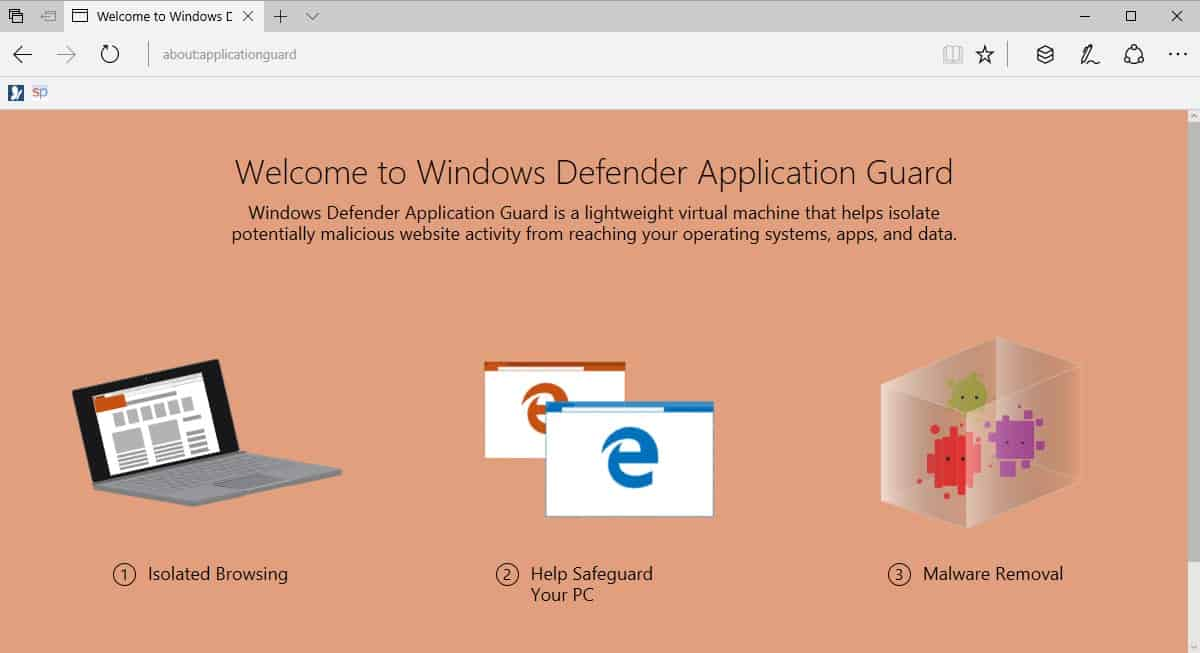 Image result for windows 10 edge with defender