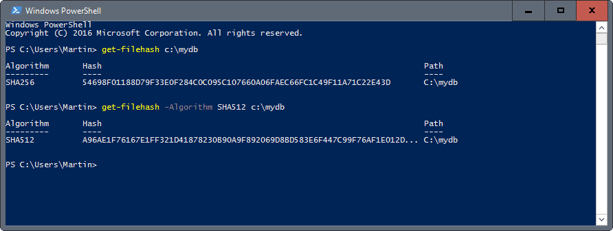 get file hashes using windows powershell ghacks tech news