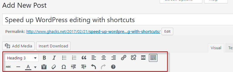 Speed up WordPress editing with shortcuts - gHacks Tech News