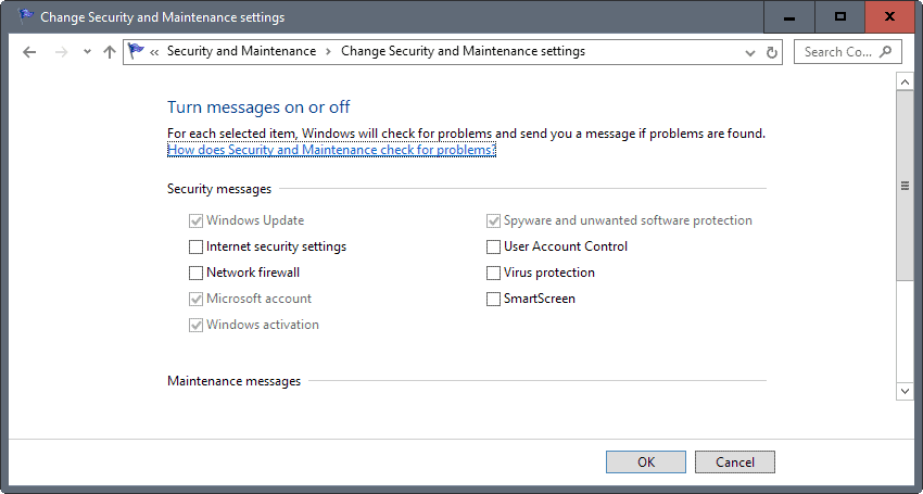 security messages windows 10