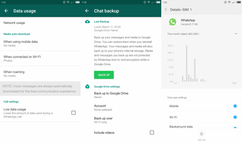 whatsapp lower data usage
