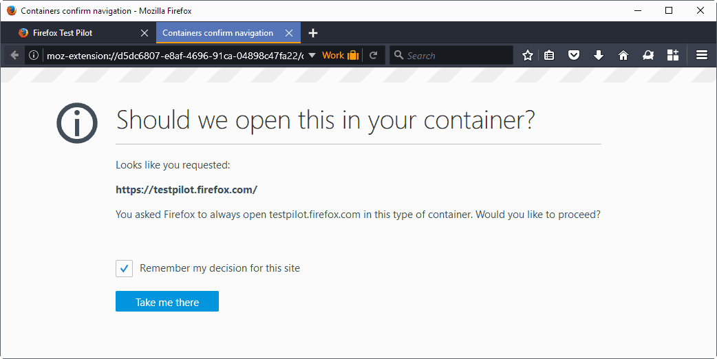 container confirm navigation firefox