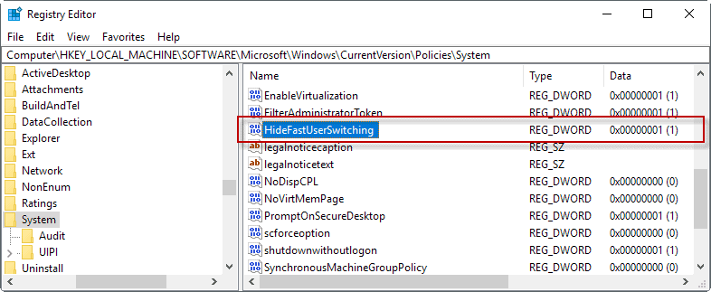 disable fast user switching registry
