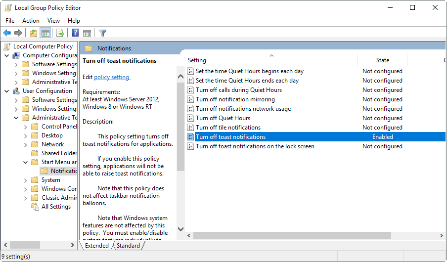 group policy notifications