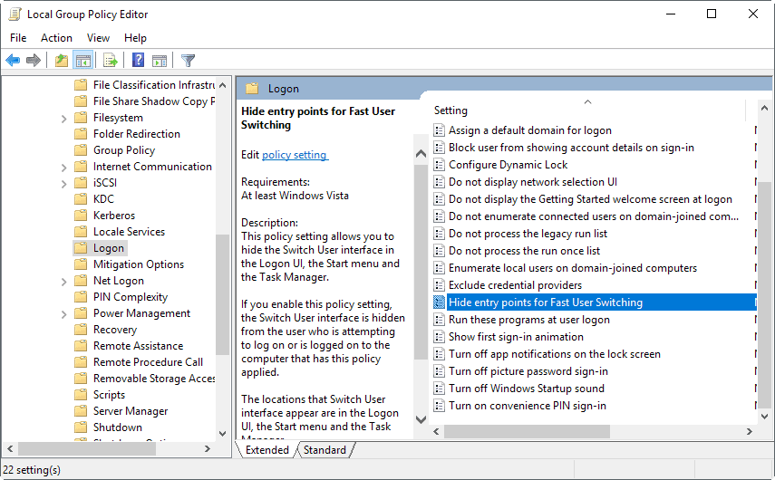 hide entry points for fast user switching
