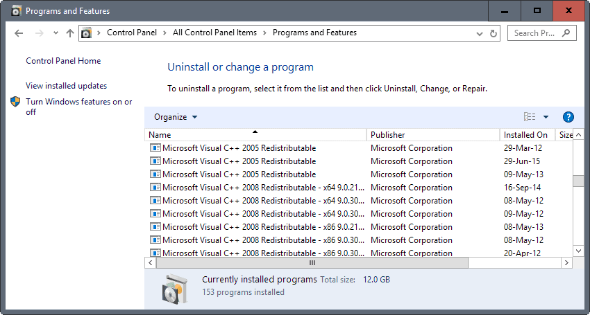 microsoft visual cpp redistributable packages