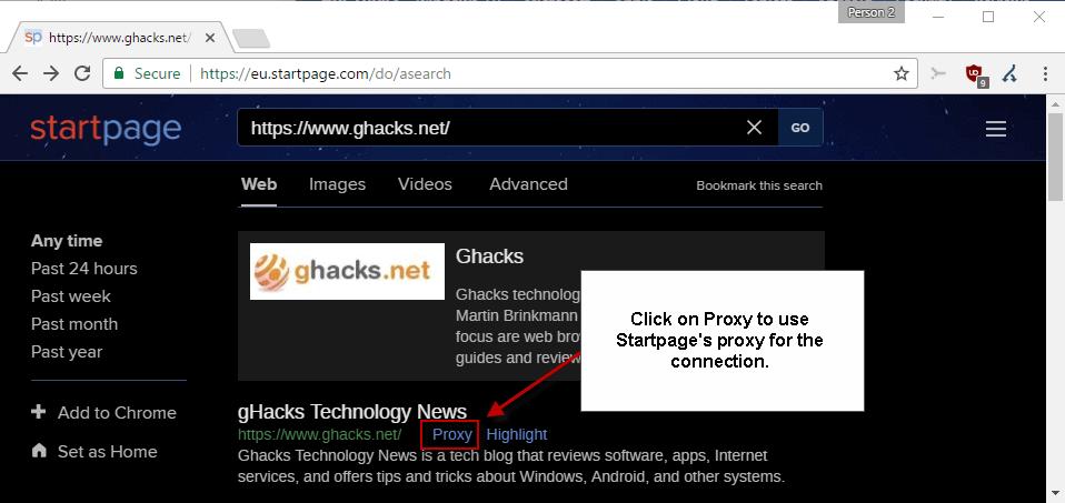 startpage proxy 502 bad gateway