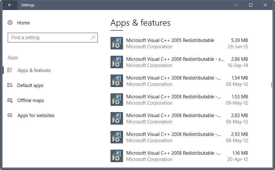 Microsoft Visual C++ Redistributable information