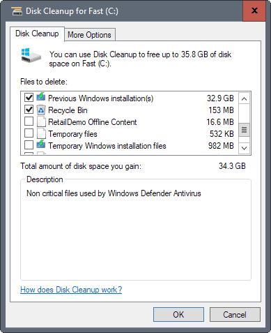 windows 10 creators update free up disk space