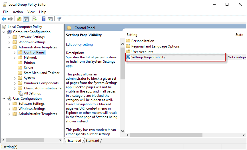 windows 10 settings page visibility