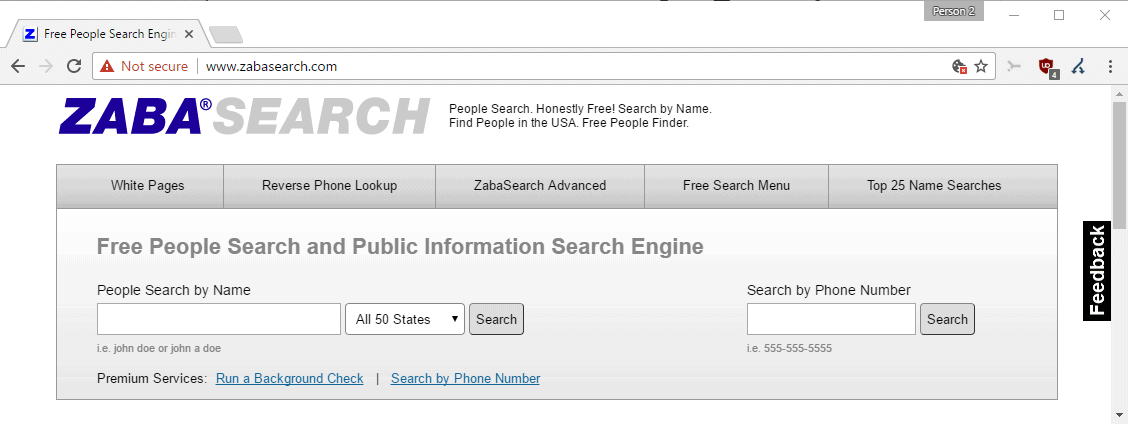 Zabasearch Free And Advanced People Search Engine