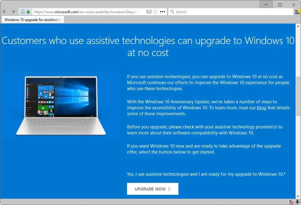 assistive technologies windows 10