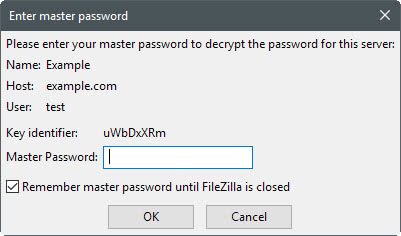 filezilla enter master password