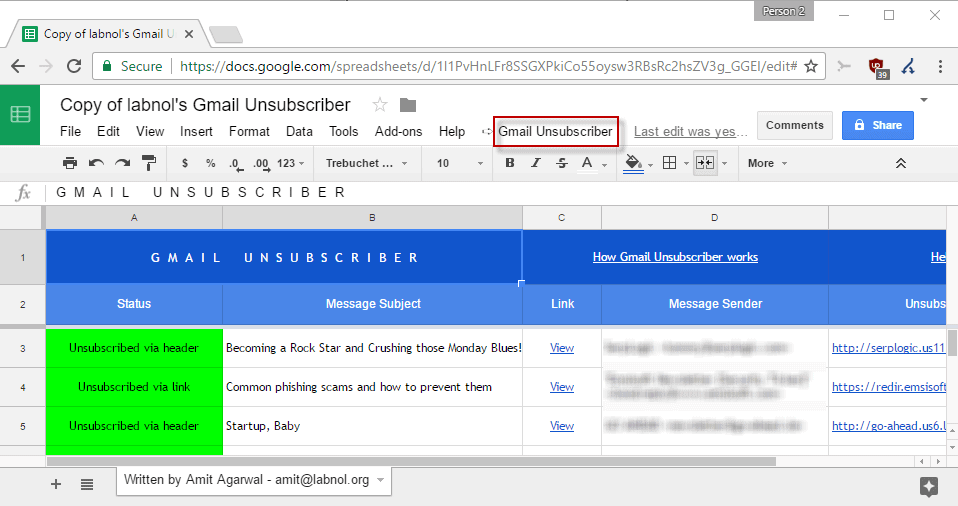 gmail unsubscriber