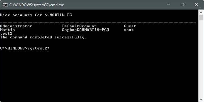 net user output