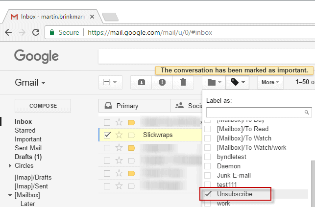 Gmail Script to unsubscribe from mailing lists and newsletters