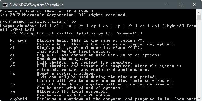 windows shutdown command