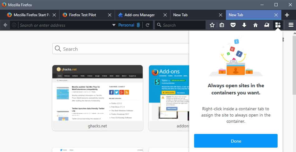 firefox always open container tab