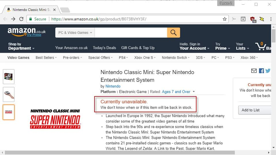 Nintendo Mini SNES limited supply fears lead to 150% online resale markup