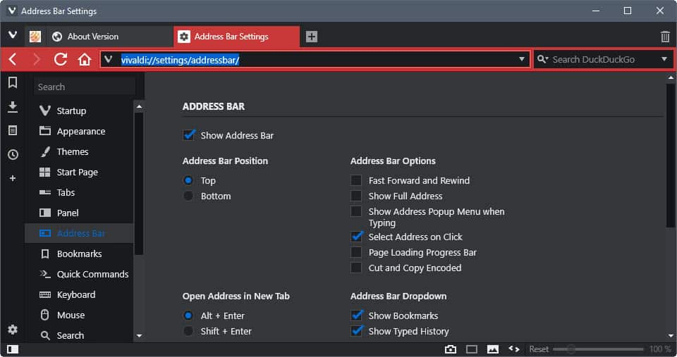 vivaldi 1.10 address bar dropdown