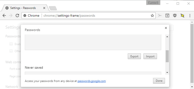 chrome export passwords import