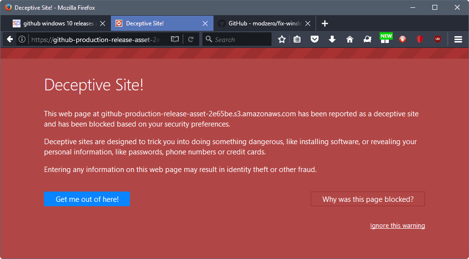 Firefox blocks all GitHub release downloads as deceptive