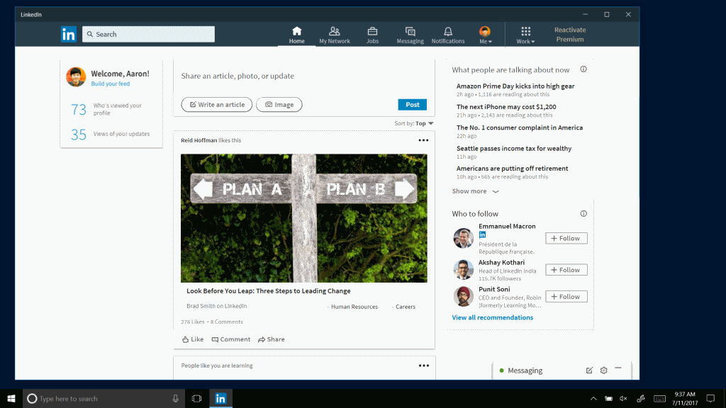 Image result for LinkedIn App for Windows 10 Launched, Rolling Out to Gradually Across the Globe