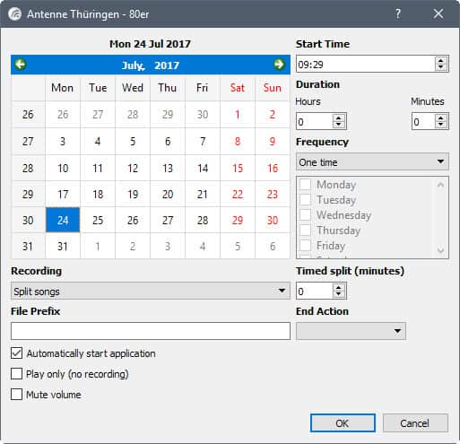 schedule internet radio recording