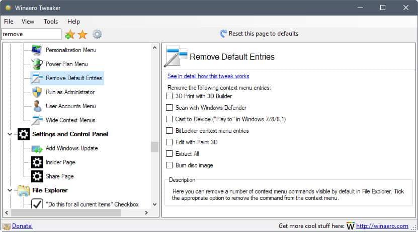 winaero-tweaker remove default entries