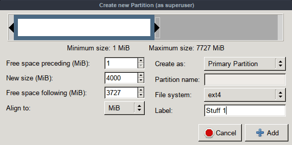 GParted New Partition