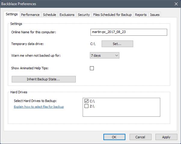 backblaze settings