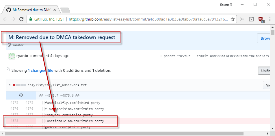 easylist removed
