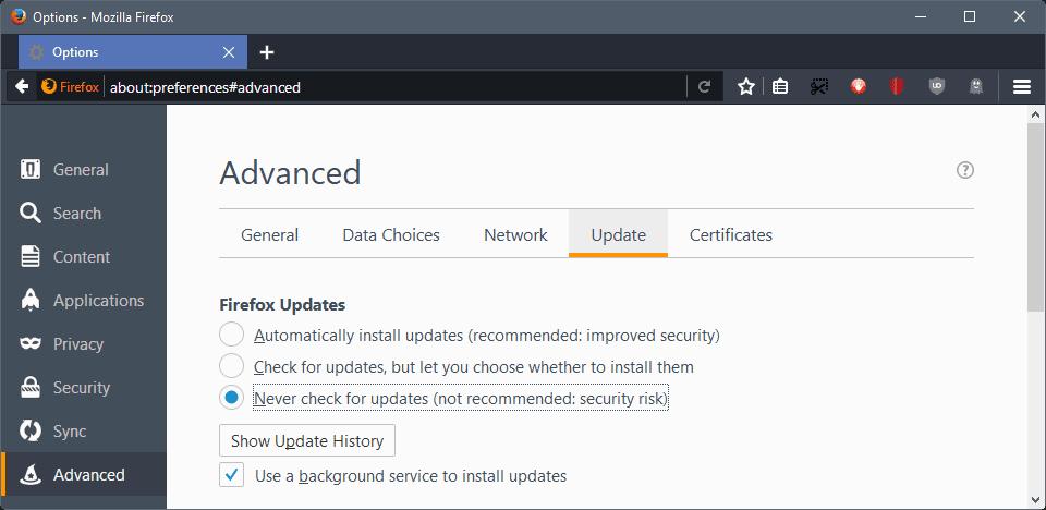 firefox never update