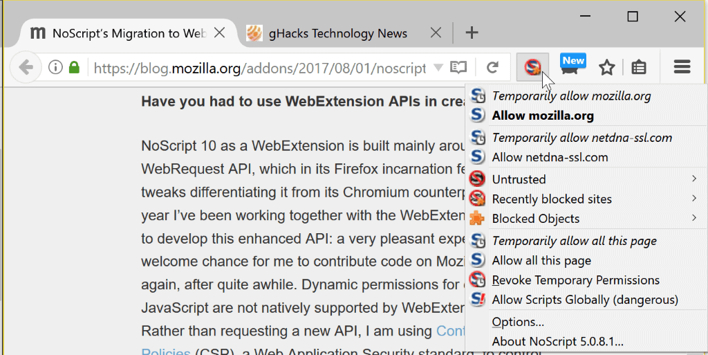 Update on NoScript's WebExtensions migration