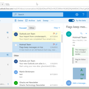 outlook.com beta august 2017