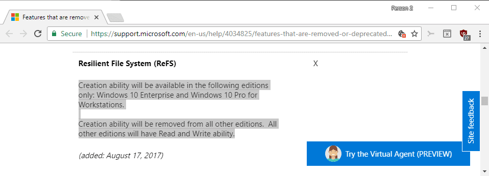 Microsoft removes ReFS file system create option from Windows 10 Pro