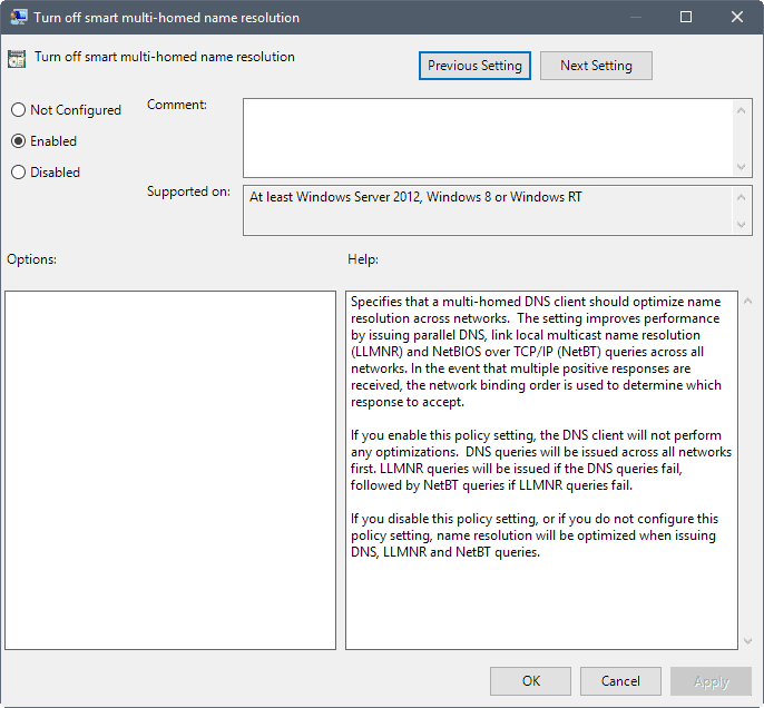 Turn Off Smart Multi-homed Name Resolution In Windows