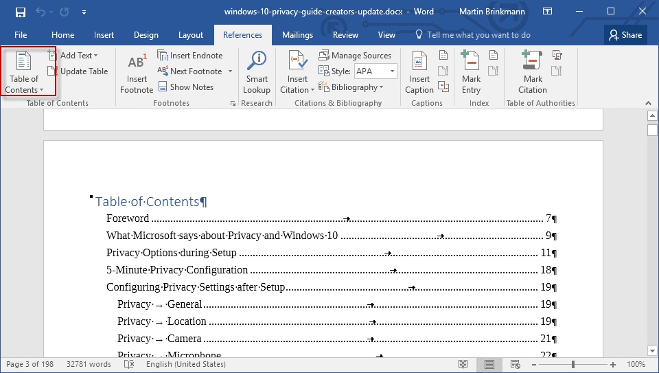 Word 2016 template tutorial how to create custom autos post for Table of contents template word 2010