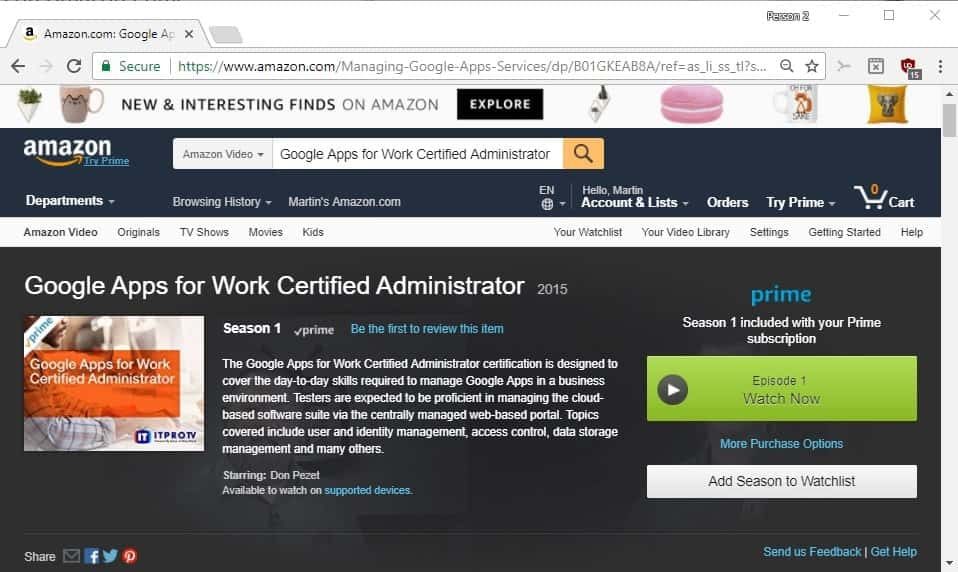Tip: You can watch free IT training videos on Amazon Prime