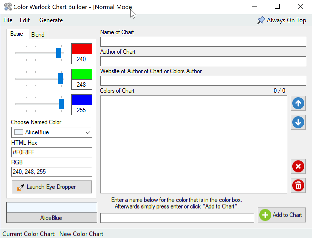 color chart editor