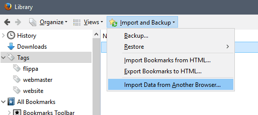 firefox import data from another browser