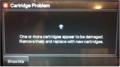 hp one or more cartridges appear to be damaged