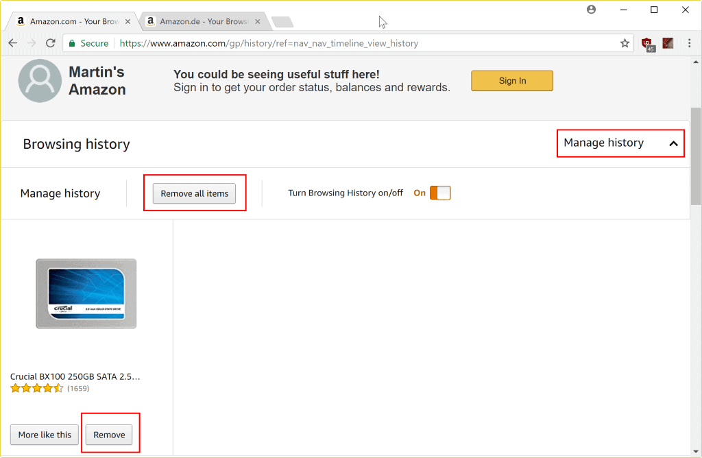 manage browsing history amazon