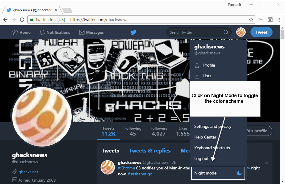 How to enable Night Mode on Twitter