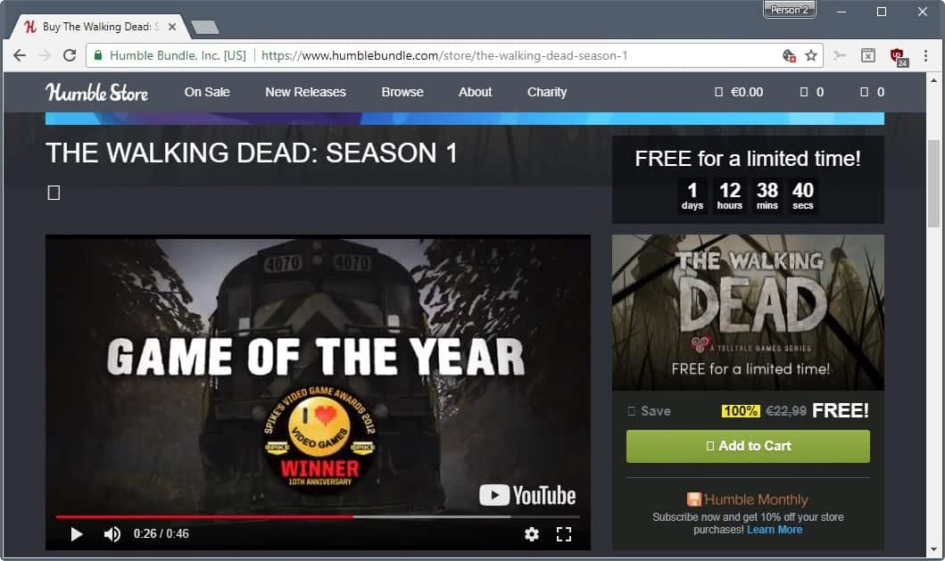 Humble Bundle: Free The Walking Dead: Season 1