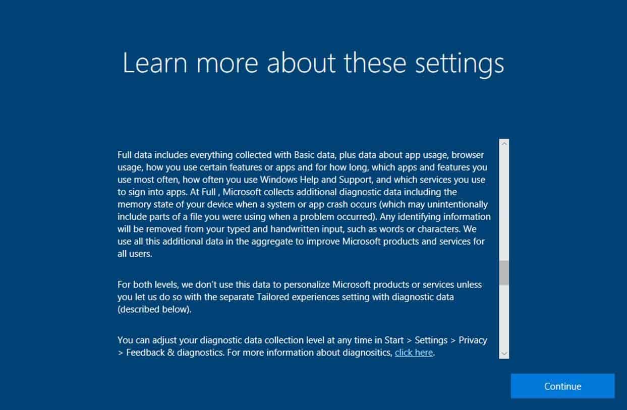 windows 10 fall creators update privacy setup