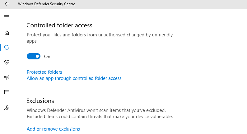 controlled folder-access windows defender app