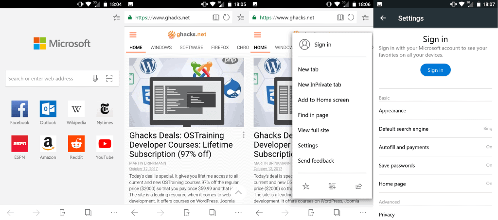 microsoft edge preview android