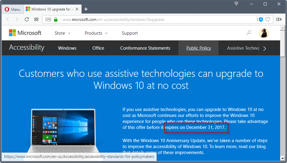 upgrade windows 10 offer expires