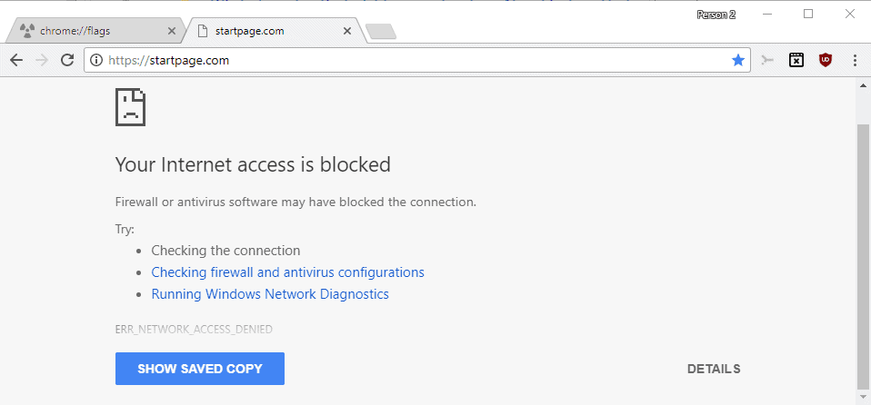 Load cached website copies in Chrome when loading fails